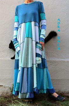 AuraGaia's Sheknows~ Poorgirl Boho Tattered Upcycled Long Dress M-1X Plus #AuraGaia #PoorgirlBoHoBoHoLongSleeveAsymmetricalHemEmpireWaistMaxiPatchwork #Casual