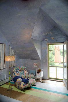 Bedroom, plywood painted floor by paulclancy1, via Flickr