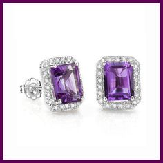 ecdaa10c7 3 CARAT AMETHYST STUD EARRINGS 925 STERLING SILVER EARRING New #Stud  Earring Studs, Sterling