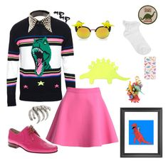 """""""Inspiration: DinoMite Dinosaurs"""" by skeletorsmom ❤ liked on Polyvore featuring Yves Saint Laurent, Dolce&Gabbana, Oasis, MSGM, Forever 21, Noir, Lenora Dame, ASOS, women's clothing and women's fashion"""