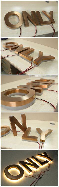 Bronze Reverse Lit Metal Acrylic Channel Letter Sign