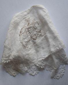 embroidered (with human hair)  handkerchief by needanumbrella
