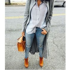 Blue stripe button up with ripped blue jeans, grey cardigan with tan brown booties