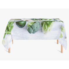 Tafelkleed Groenten | Fleur je keuken op met dit weerbestendige tafelkleed bestaande uit geweven linnen met PVC.   #tafelkleed #keukentextiel #keuken #kleed #pvc #print #opdruk #tafel #weerbestendig #groenten #groente #gezond #groen #groenvoer