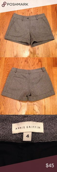 """Annie Griffin Gray Wool Herringbone Shorts Black & White Herringbone Wool Shorts by Annie Griffin. Fully lined w/ pockets in front & back & cuffed at hemline. Size 4. Measures: 15"""" Waist & 4"""" Inseam. Like New Condition. Annie Griffin Shorts"""