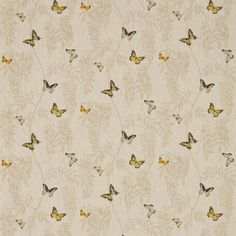 Sanderson fabric - Wisteria & Butterfly (225528)  Beautifully painted in watercolour, exquisitely drawn butterflies float across a pared back, line drawn wisteria trail. In fabulous citrus tones on a neutral background.