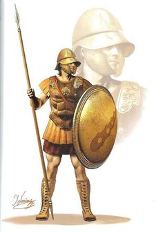 Theban Hoplite (mid 4th century BC) - Boeotian helmet with broad visier and jaw protectors. - Leather muscle cuirass - Hoplite shield with Hercules' bludgeon - Tall leather boots - Thrusting phalanx spear - Short parazonium sword Drawing by C.Giannopoulos for Periskopio Editions