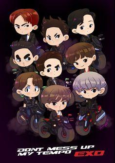 Exo, fanart, and kpop image Kyungsoo, Exo Chanyeol, Kpop Exo, Exo Cartoon, Exo Stickers, Kai, Kdrama, Exo Anime, Exo Group