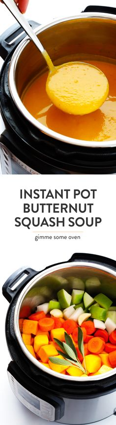 Seriously the BEST Instant Pot Butternut Squash Soup recipe! It's easy to make in about 30 minutes from start to finish, it's naturally gluten-free and vegetarian and vegan, and it's packed with feel-good veggies and flavors that everyone will love. My kind of fall comfort food! | gimme some oven