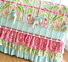 Kumari Garden Tiered Ruffle Custom Crib Bedding Set with ruffle trim bumper