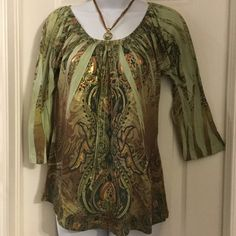 St Tropez west ladies top#4 100% polyester 3/4 sleeves ladies top Saint Tropez West Tops Blouses