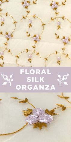 Bronze and Lavender Metallic Floral Embroidery on 100% Silk Organza