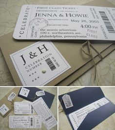 Boarding Pass Invitations. Omg. Almost don't want to pin this because I want it all for myself. : )