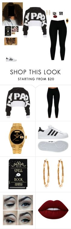 """""""Ivy"""" by ohsnapitzchasy ❤ liked on Polyvore featuring Topshop, Rolex, adidas, Gucci and Lime Crime"""