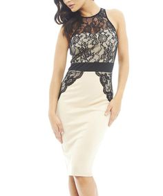 Another great find on #zulily! Nude & Black Lace Sheath Dress - Women by AX Paris #zulilyfinds