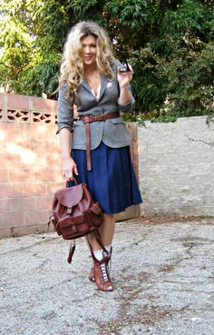 gray wool blazer belted+long lady skirt+vintage leather backpack+ruffle socks+granny boots+big hair