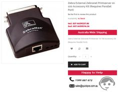Buy Zebra External Zebranet Printserver 10 100 Accessory Kit (Requires Parallel Port) at LOW Prices. QuickPOS service limits to only Australia including Tasmania & Norfolk Island..!  http://www.quickpos.com.au/zebra-e-ternal-zebranet-printserver-10-100-accessory-kit-requires-parallel-port