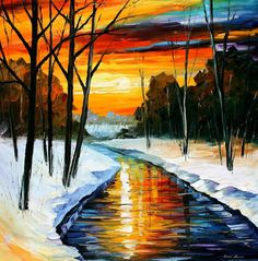 "Winter — PALETTE KNIFE Large Modern Fine Art Landscape Oil Painting On Canvas By Leonid Afremov - Size: 30"" x 30"" inches (75 cm x 75 cm)"