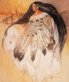 The Legend of the White Buffalo Woman is one of the most sacred Lakota and Plains Indian legends. She brought the Sacred Buffalo Calf Pipe to the Sioux and teaches the Lakota and Plains tribes of. Native American Artwork, Native American Women, American Indian Art, Native American Indians, Native American Artists, Native Indian, Native Art, Native American Mythology, Goddess Art
