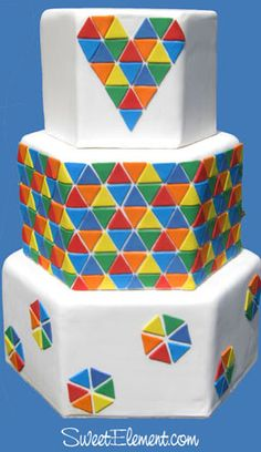 Hexagon Rainbow Triangle Pixel Wedding Cake by Sweet Element cakes