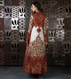 Ivory Wine Net Long Jacket with Thread Embroidery, by Rohit Bal Indian Dresses, Indian Outfits, Pakistani Outfits, Indian Attire, Indian Wear, Anarkali, Lehenga, Indian Fashion, Tribal Fashion