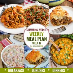 Slimming Eats Weekly Meal Plan - Week 17 - Slimming World - taking the work out of meal planning so you can just cook and enjoy the food. Extra Easy Slimming World, Easy Slimming World Recipes, Slimming Eats, Dinner Recipes For Kids, Healthy Dinner Recipes, Healthy Snacks, Spicy Recipes, Cooking Recipes, Sw Meals