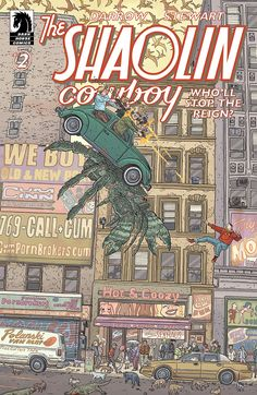 The Shaolin Cowboy: Who'll Stop the Reign? story, art and cover by Geof Darrow, 2017 Comic Book Covers, Comic Books Art, Comic Art, Book Art, Children's Books, Line Art Projects, Geof Darrow, Marvel Vs, Lectures