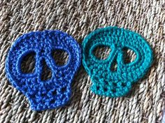 Crochet skull. I've actually made these. Caron simply soft makes for a very dainty and punky appliqué.