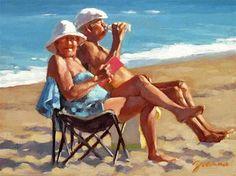 "Daily Paintworks - ""Somewhere On The Beach"" - Original Fine Art for Sale - © Joanna Bingham"