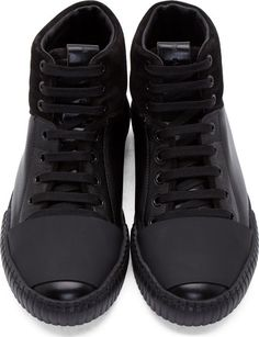 Marni Black Leather & Suede Panelled High-Tops