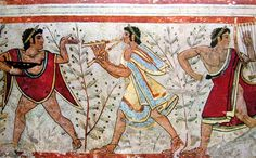 Paintings from Etruscan tombs in Tarquinia, Italy. You go down a short flight of steps into the dark underground. Your presence trips a light on and you peer into the square whitewashed-with-paintings tomb. It's stunning and almost unbelievable. This one a favorite.