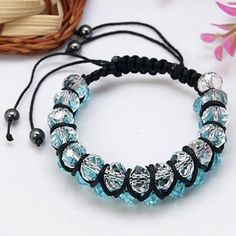 Friendship bracelet Bead charm link shamballa 4mm good luck nylon thread UK