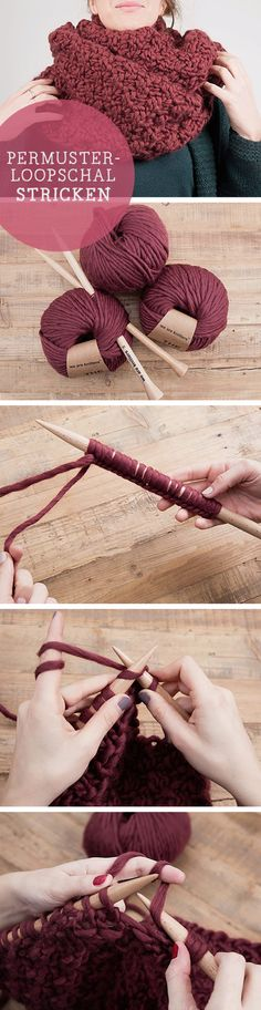 Strickanleitung für einen Loop Schal im Perlmuster gestrickt / diy knitting pattern for a loop scarf knitted in seed stitch via DaWanda.com