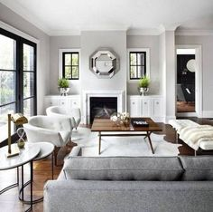 Grey interior design ideas for living rooms from the experts at Domino magazine. Explore grey paint color ideas for your living room on Domino.