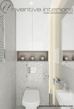Projekt wc Inventive Interiors - jasna kobieca mała łazienka w szarości