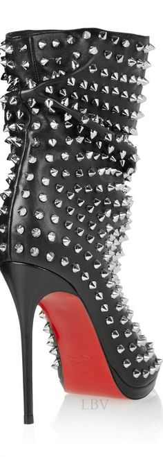 Christian Louboutin Guerilla 120 studded leather ankle boots | LBV A14 ♥✤