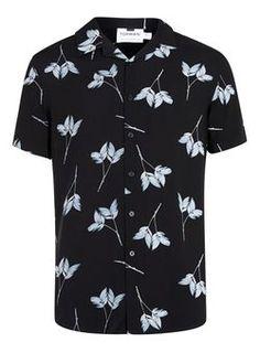 Black and White Leaf Print Revere Collar Shirt