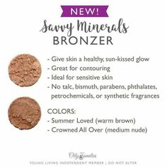 Savvy Minerals bronzer by Young Living - Makeup Tips Highlighting Young Living Makeup, Young Living Oils, Essential Oils For Skin, Young Living Essential Oils, Carrie, Anti Aging, Savvy Minerals, Pinterest Instagram, Non Toxic Makeup