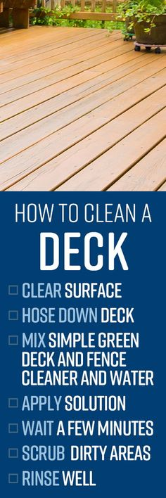 Simple Green Deck and Fence Cleaner is ideal for both manual and pressure washing your entire deck, lifting dirt, grease and sap from wood and composite surfac Speed Cleaning, Cleaning Hacks, Deep Cleaning Schedule, Spring Cleaning List, Pressure Washing, Natural Cleaning Products, Grease, Washer, Fence