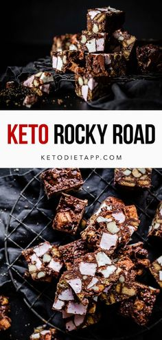 A classic rocky road recipe made with low-carb graham crackers, sugar-free marshmallows, buttery macadamia nuts and rich and creamy dark chocolate. #keto #lowcarb #dessert #paleo #fatbombs #holidays Sugar Free Candy, Sugar Free Desserts, Low Carb Desserts, Dairy Free Keto Recipes, Low Carb Recipes, Whole Food Recipes, Recipes With Marshmallows, Keto Food List, Rocky Road