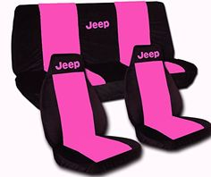 Black and Hot Pink  seat covers for a 2010 to 2012 Jeep Wrangler