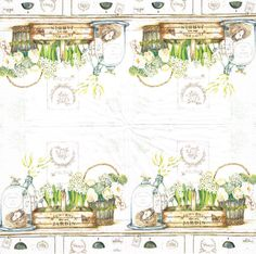 FOUR Paper Napkins JARDIN ROYAL 33cm 1000 door LanternsByTamara