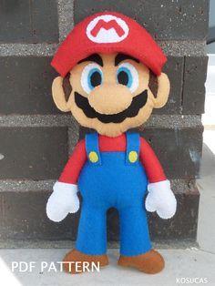 Patrón PDF para hacer un fieltro Mario Bros. por Kosucas en Etsy