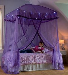 For modern girls room one of stylish canopy bed from purple fabric color, Stylish purple canopy bed for girls room, girls canopy bed, canopy bed designs, girls canopies Bed For Girls Room, Little Girl Rooms, Bedroom Girls, Trendy Bedroom, Princess Room Ideas For Girls, Rooms For Kids, Girls Princess Bedroom, Princess Canopy Bed, Canopy Lights