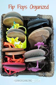 Organize flip flops in a square basket :: OrganizingMadeFun.com