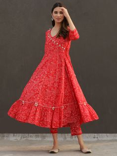 Red Floral Printed Cotton Angrakha Anarkali Suit with Off White Checkered Mulmul Dupatta - Set of 3 Pakistani Dresses Casual, Indian Gowns Dresses, Indian Fashion Dresses, Dress Indian Style, Pakistani Dress Design, Indian Designer Outfits, Pakistani Fashion Casual, Designer Dresses, Indian Outfits