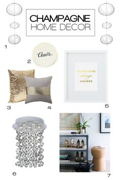 Champagne Home Decor: Perfect for the entire year or your New Year's Eve party.