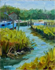Afternoon Marsh, Shem's Creek , plein air, 9x12, Mt. PLeasant, Charleston, boats, marshes, plein air, paint out, plein air, American Impressionist Society, painting by artist Maryanne Jacobsen