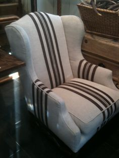 Striped wingback chair from Jayson Home and Garden, Chicago, photo via Delight by Design