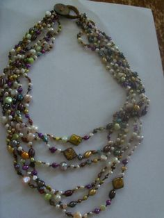 Hand knotted long  multicolor pearl  necklace by syl10 on Etsy, $25.00
